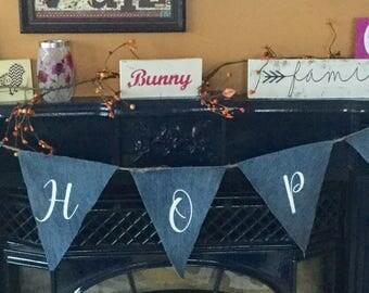 Denim Banner, Bunny Banner, Easter Pennant