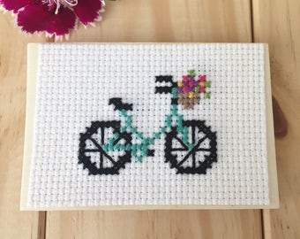 Turquoise Bike with Flowers Magnet, Wood Magnet, Bicycle Decor, Cross Stitch Art
