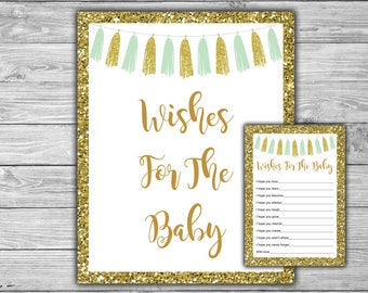 Mint and Gold - Baby Shower - Wishes For The Baby - Baby Shower - Printable - Instant Download - DIY - Mint - Gold - Tassels - 033