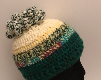 Women pony hole winter hat, turquoise, green & yellow, women pony hole ski hat
