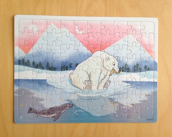 Kids puzzle illustration polar bear, cardboard 80 pieces, gift for child