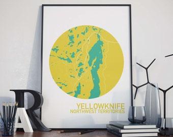 Yellowknife, Northwest Territories City Map Print
