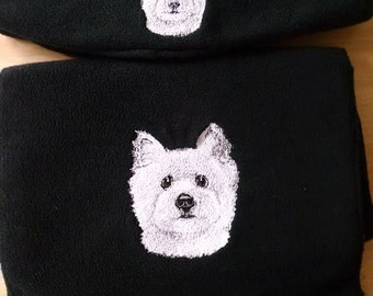 Embroidered West Highland White Terrier (Westie) Hat and Scarf set