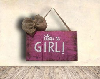 It's a Girl Sign - Reveal Party Sign - It's A Girl Wood Sign - Baby Shower Sign - Nursery Sign - Baby Shower Gift Idea
