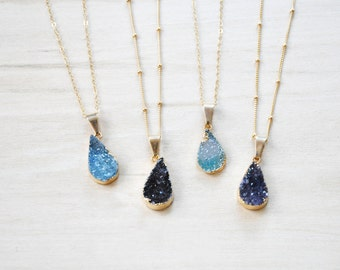 BoEm Jewelry, Druzy Necklace, Teardrop Necklace, Gold Necklace, Simple Necklace