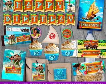 Moana Party Kit - INSTANT DOWNLOAD - Moana Birthday Party Package - Moana Party decoration - Disney Moana - Moana Vaiana Printable Party Kit