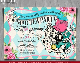 Alice in Wonderland Invitation - Alice in Wonderland tea party Invite - Mad Hatter Birthday Invitation - Mad Tea Birthday Party