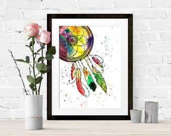 Boho, watercolour, dream catcher art, digital print, home decor, gift for her, printable