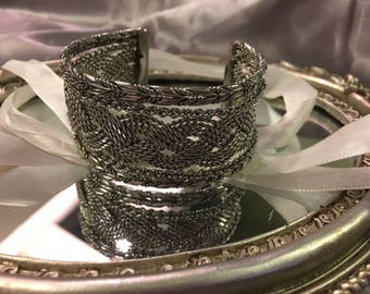 1970s Vintage Silver Layered / Stacked Cuff Bracelet