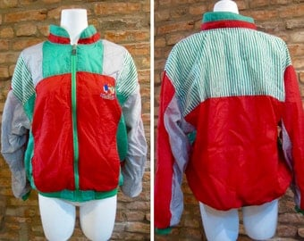 Vintage Windbreaker • 80s Windbreaker • Vintage Bomber Jacket • Medium Color Block Windbreaker Bomber • Jackie Vital Bad Boyz • Red Green