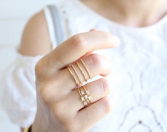 Rose Gold Stacked Crystal Ring, Layered Crystal Ring, Stackable Ring, Adjustable rings for women, Unique Rings, prom gift, free size ring