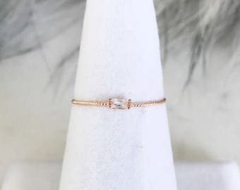 0.8mm Crystal Twisted Sterling Silver Ring, Minimalist ring, Dainty ring, stackable ring, thin gold ring, stacking ring, dainty ring, skinny