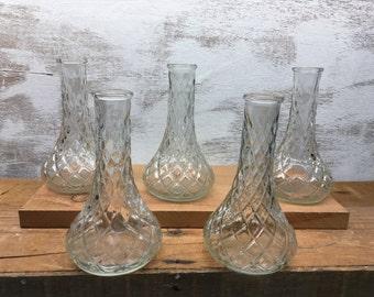 "Wedding Vases, 6"" Vases, Matching Set of 5, Glass Vases, Mid-Century Vases, Vintage 1950s, Diamond Pattern, Wedding Table Decor, Vases"
