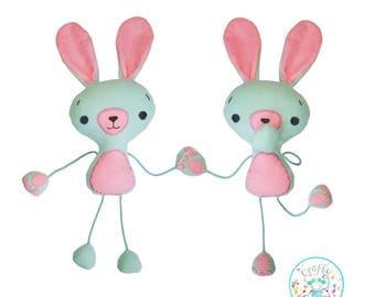 Floppez Bunny Rabbit Toy Stuffie Softie Sewing Pattern File, bunny sewing pattern, Easter Bunny, Bunny Rabbit, floppy bunny, String bunny