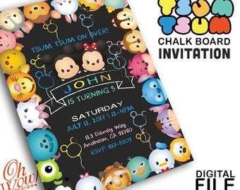 Tsum Tsum Chalk Board Party Invitation