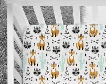 Woodland Foxes, Arizona, Raccoon Fitted Crib Sheet, foxes, teepees, arrows bedding woodland nursery, baby bedding, tribal baby, arrows