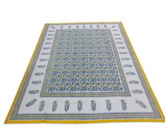 Indian Hand Block Printed Rajasthani Art Work Design Cotton Double Bed sheet in White Color size 90x108""