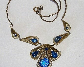 ART DECO FILIGREE and glass necklace
