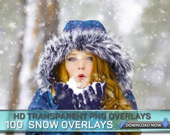 100 PHOTOSHOP Snow Overlays - 60 Transparent PNG + OVER 50 Jpg files, Digital Background, Digital Backdrop