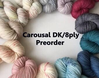 Pre Order: DK Hand Dyed Carousal DK 8 ply Australian Superwash Merino Knitting Yarn