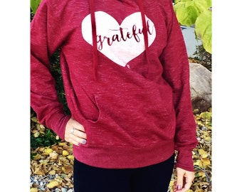 Grateful Heart Cardinal Hoodie, red hoodie, grateful hoodie, thanksgiving hoodie, grateful tee, gratitude, thankful