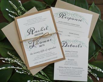 Rustic boho Wedding Invitation Suite Set of 10, Wedding Invitation Set, RSVP, Detail - Quick Delivery - Organic, elegant, leaf, leaves, fast