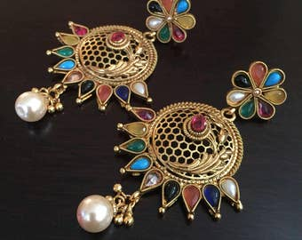 Gorgeous Large polki mutistone chandelier earrings gold finish/indian jewelry/bollywood/antique chandelier/chand bali/jadau/statement/jhumka