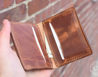 Leather Bifold Card Wallet, Leather card holder, Mens/Womens Leather Card Holder, Awesome Bifold Wallet ~