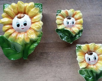 Vintage PY Japan Sunflower Wall Pocket Trio