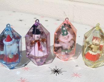 Vintage Jewelbrite Diorama Plastic Christmas Ornaments Spun Cotton Santa Angel Snowman Elf Gnome