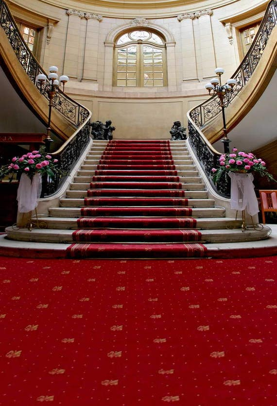 5x7ft vinyl digital wedding party interior red carpet stairs photography studio backdrop pro - Red carpet photographers ...