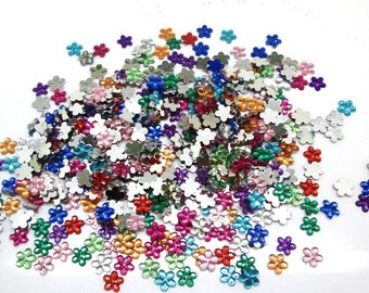 100Pcs Acrylic Crafts Mixed Flower Flatback Cabochon Scrapbooking Fit Phone (67)