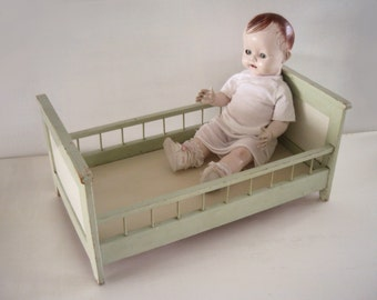 old dolls bed, mint, shabby, old paint