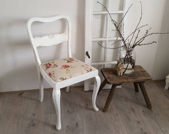 antique chair, upholstered Chair, white roses, shabby,