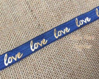 Love Fold Over Elastic- Navy Blue Gold FOE- Fold Over Elastic- Wholesale Elastic- DIY Headband- Valentines Day FOE- Elastic By The Yard-