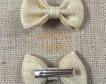Tan Burlap Bow with Clip- 2.75 inch- Burlap Hair Bow- Wholesale Hair Clips