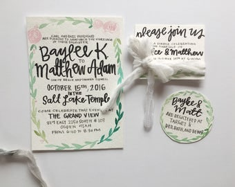 Hand painted watercolor floral wedding invitations