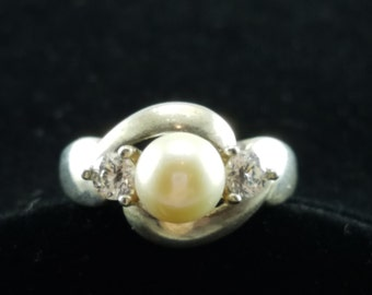 Pearl, Sterling Silver & CZ Ring - Size 5