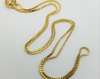 """14K Yellow Gold Mirror Box Chain Estate Necklace, 1mm wide, 20"""" long"""