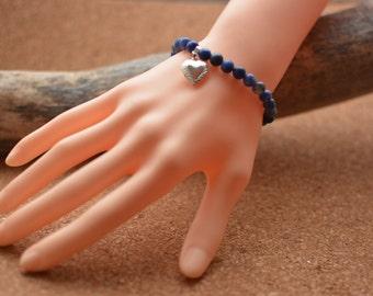 Sodalite beads bracelet, semi precious stones, blue,  heart charm, zen and yoga syle, elastic, tailored