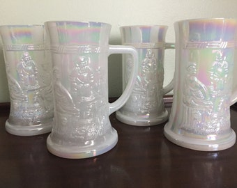Set of 4: Iridescent Federal Milk Glass Beer Steins