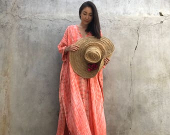Coral Hand Dyed Very Long Kaftan simple Dress, stylish, Elegant, Miami,lbiza,Holiday Dress,summer party dress,loose fit,Vacation,Sharon dres