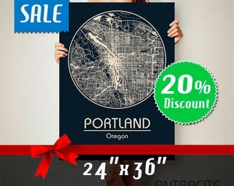 PORTLAND Oregon CANVAS Map Portland Oregon Poster City Map Portland Oregon Art Print Portland Oregon poster Portland Oregon map