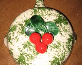 Vintage Ceramic Frying Pan Wallpocket With Cherries...Jans Of California