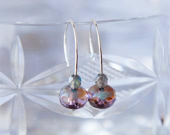 Simple Earrings, Violet Earrings, Tiny Boho Earrings, Everyday Earrings, Tiny Modern Earrings, Minimalist Earrings, Contemporary Earrings