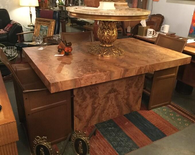 Milo Baughman Olive Ash Burl dining Table with Pedestal Base