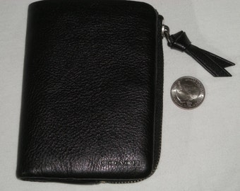 COACH Classic Black Leather Billfold BiFold Snap CLUTCH Wallet W/ Coin Pouch AWESOME!