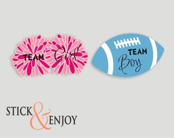 Gender Reveal Party Stickers, Pom Poms Team  Girl and  Football Team boy  Labels. Pom Poms and football Shaped Waterproof Sticker, Labels
