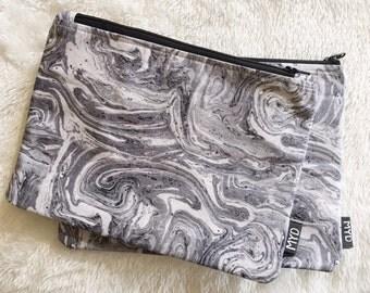 Makeup bag, marble swirl print