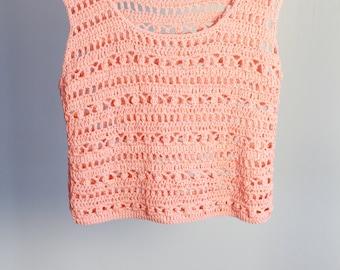 Crochet summer tank top for women, sleeveless cropped top,100% cotton